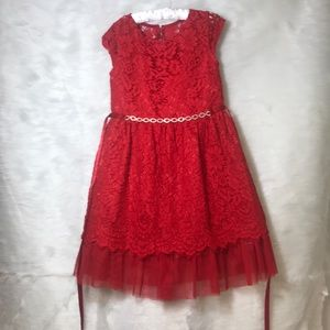 Girls Red Lace Dress
